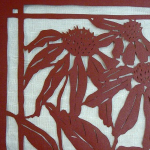 lacquered stencil detail