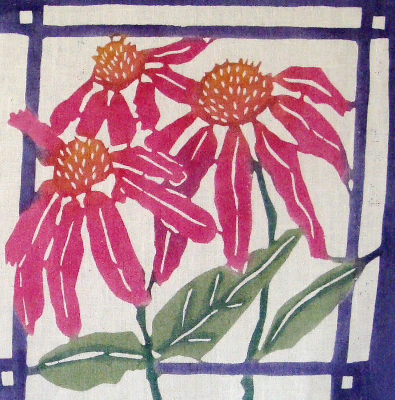 Coneflower design detail after wash-out