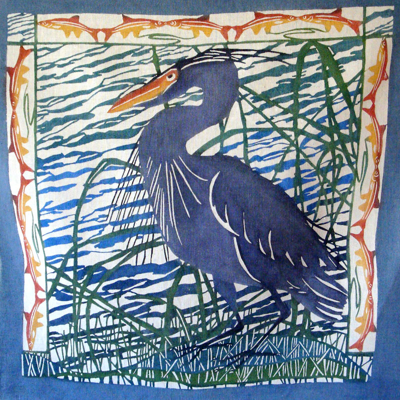 Full Blue Heron design after wash-out