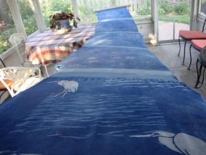 Indigo dyed linen